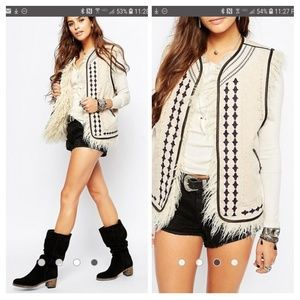 Free People Embellished/Furry Reversible Vest